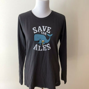 "Life Is Good ""Save The Ales"" charcoal T - womens M"